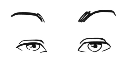 A simle marker drawing of two eyes.